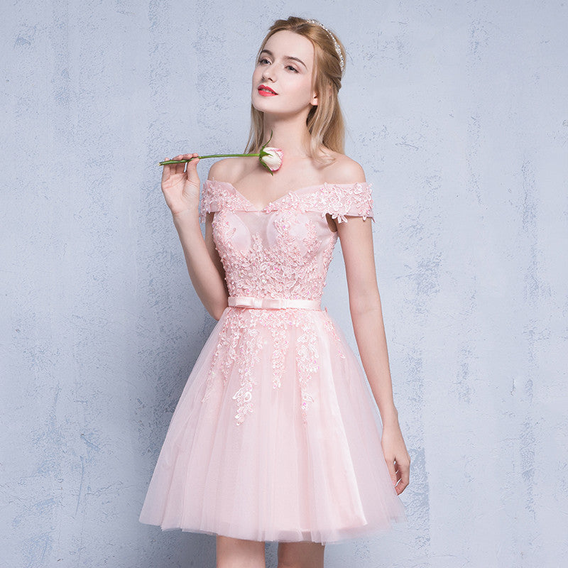 Off Shoulder Embellished Tulle Homecoming Dress