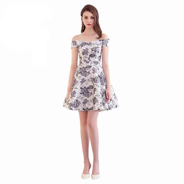 Satin Floral Corset Back Homecoming Dress