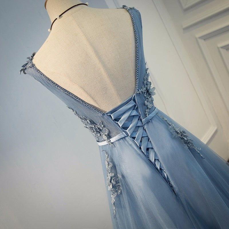 Pale Blue Deluxe Floral Bridesmaid Dress