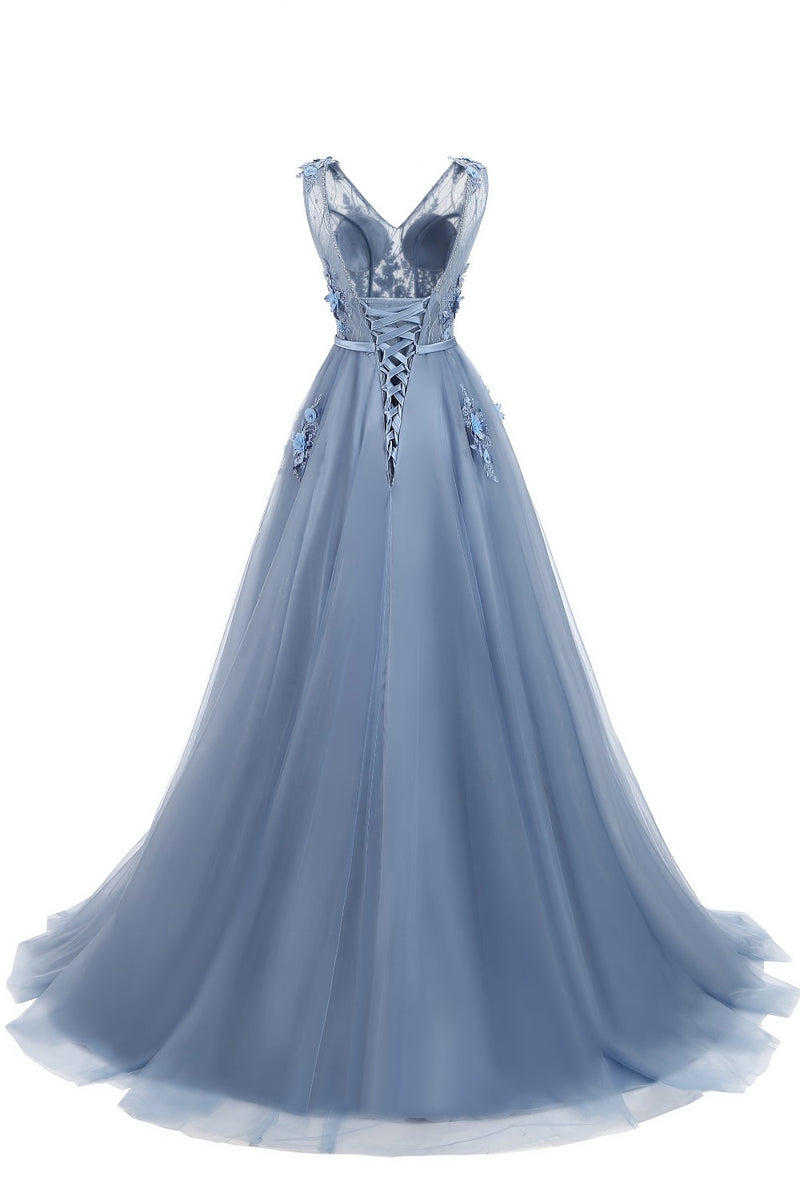 Pale Blue Deluxe Floral Prom Dress