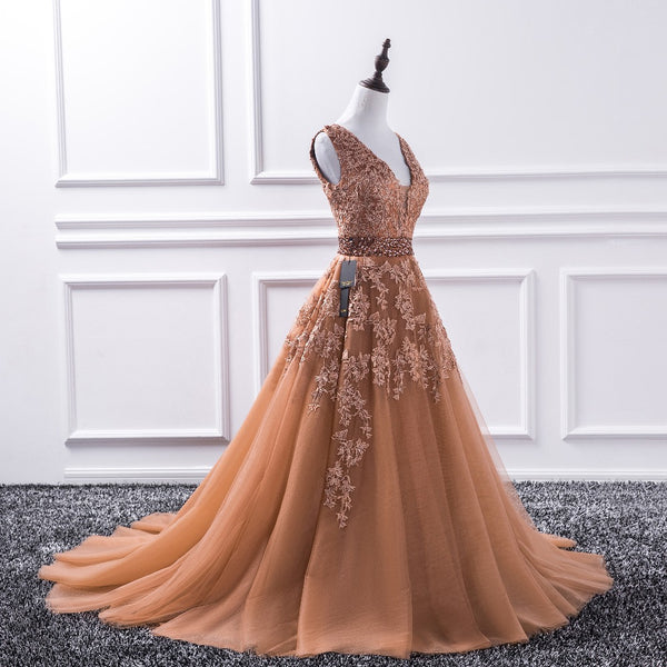 Maple Embellished Tulle Prom Dress