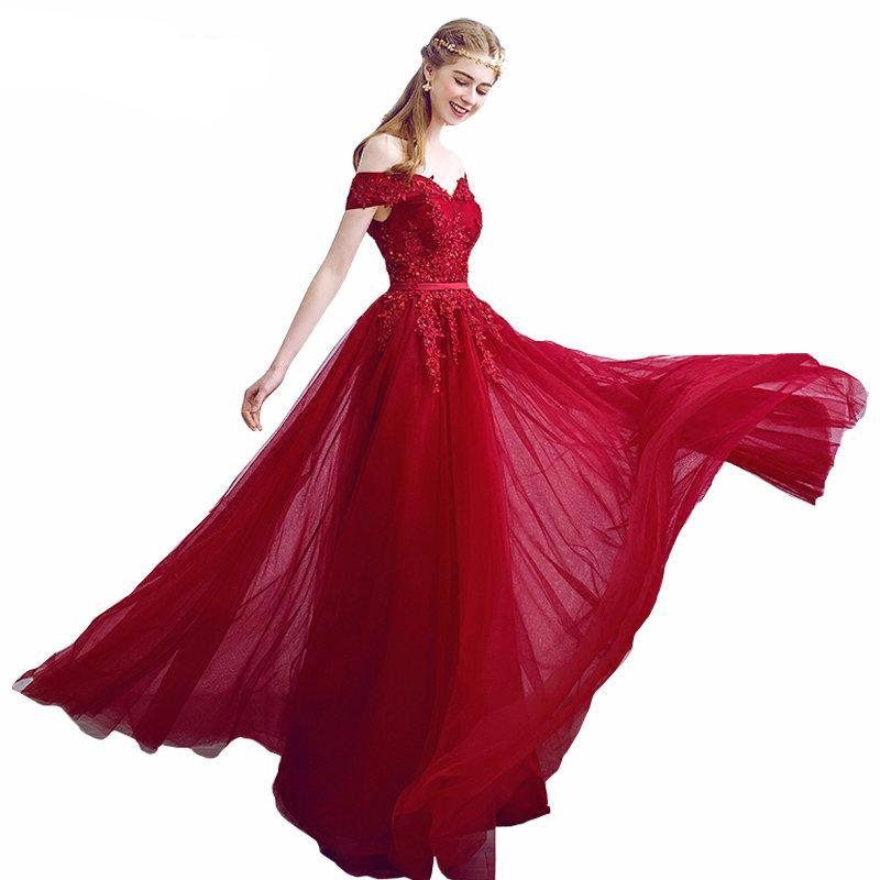 9fdadf7df9c Off Shoulder Embellished Tulle Prom Dress