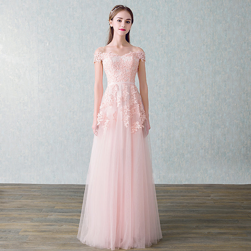 Off Shoulder Embellished Tulle Prom Dress
