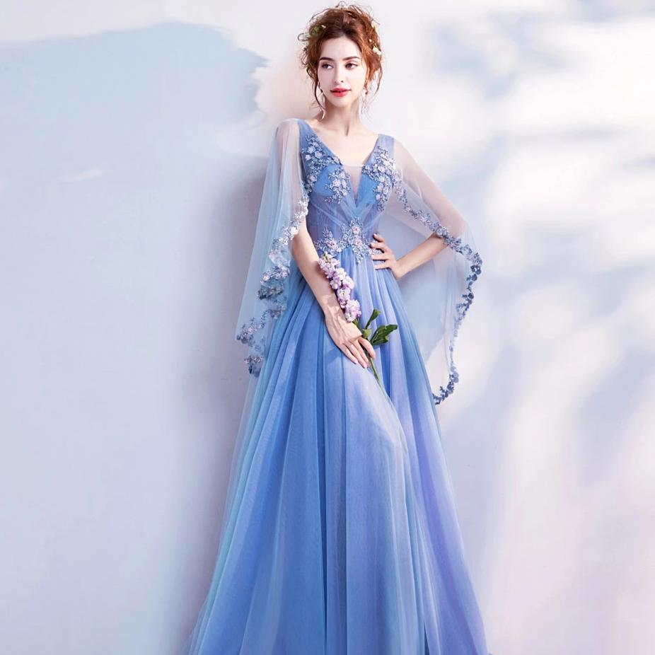 Embellished Shawl Formal Prom Dress