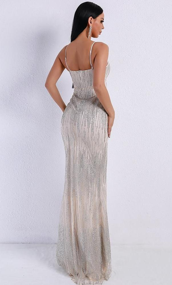 Silver Spaghetti Strap Sequined Maxi Dress