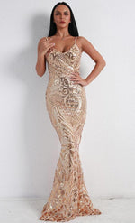 Spaghetti Strap Sequin Patterned Maxi Dress