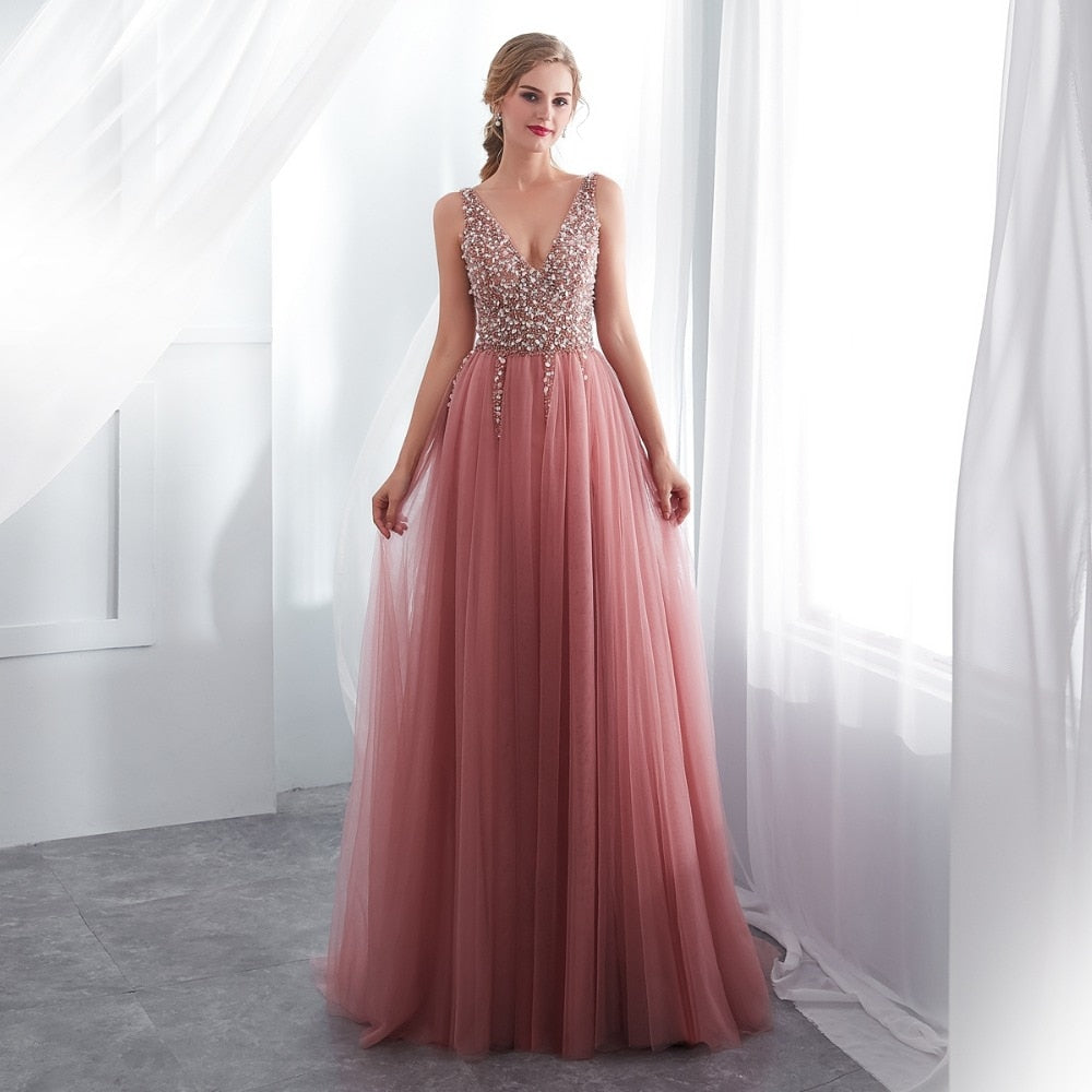 76a78c42f1bc Dusty Pink High Slit Tulle Prom Dress – The Dress Rail Boutique