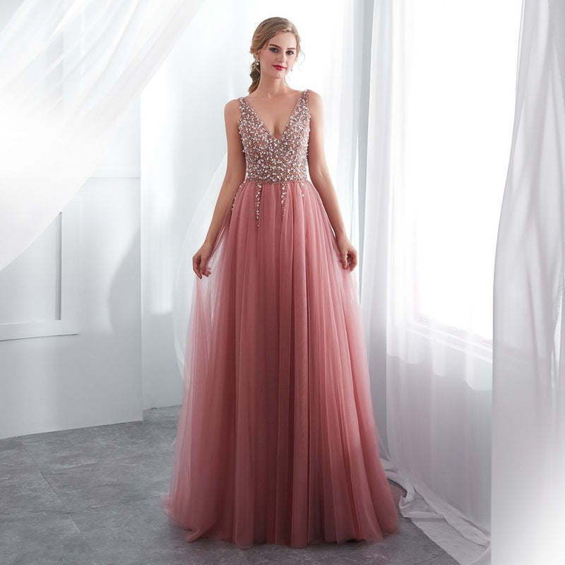 Dusty Pink High Slit Tulle Prom Dress