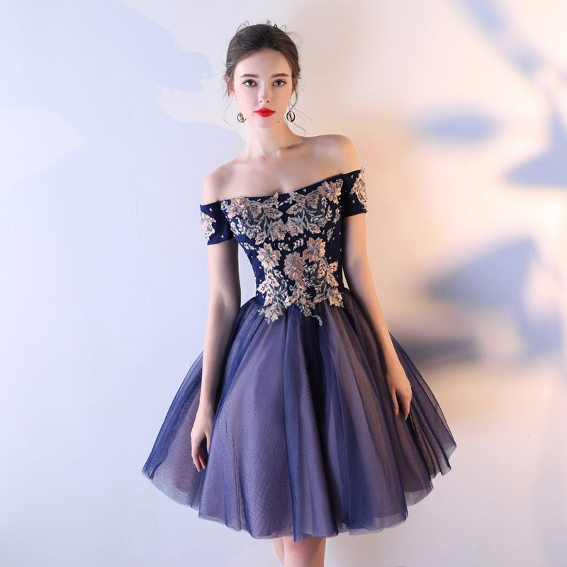 Off Shoulder Midnight Homecoming Dress