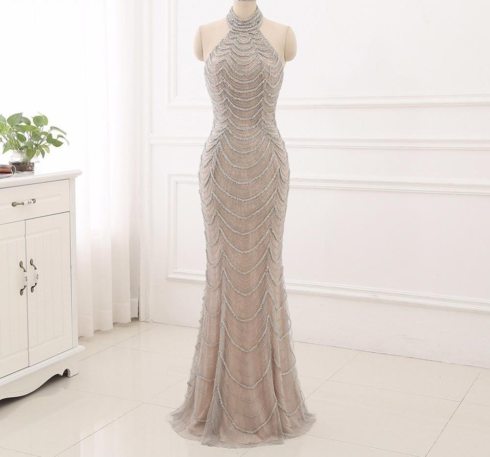 Halter Neck Bead Embroidered Prom Dress