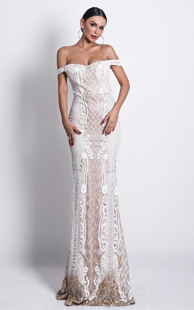 White Sequined Off Shoulder Maxi Dress