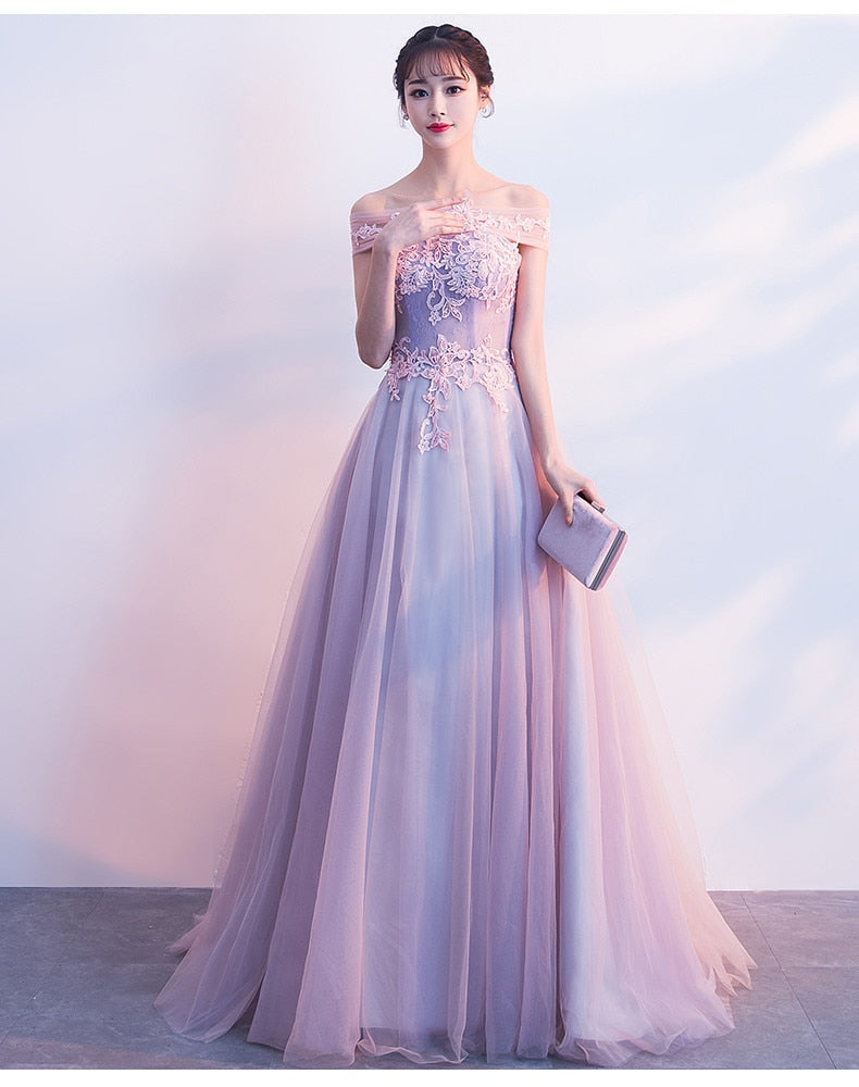 Off Shoulder Lilac Two Tone Prom Dress