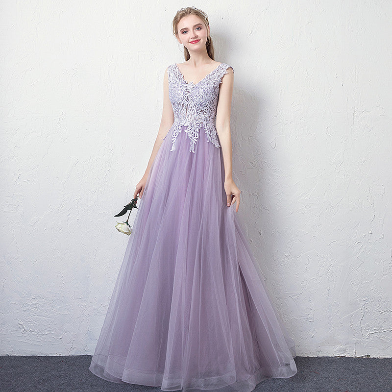 Lace Embellished Lilac Prom Dress