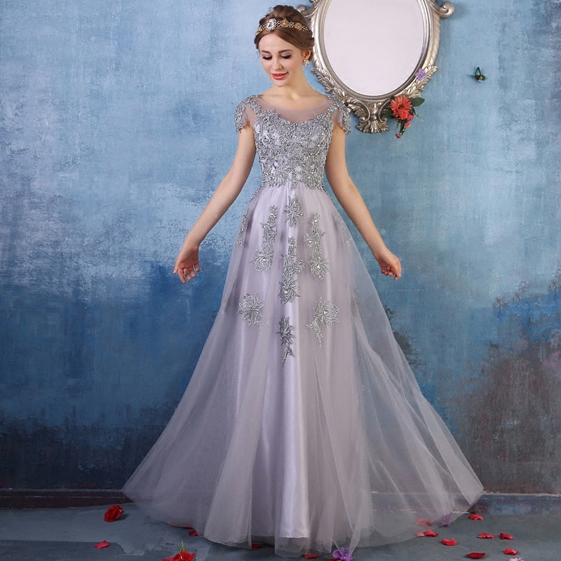 Capped Sleeve Embellished Tulle Prom Dress