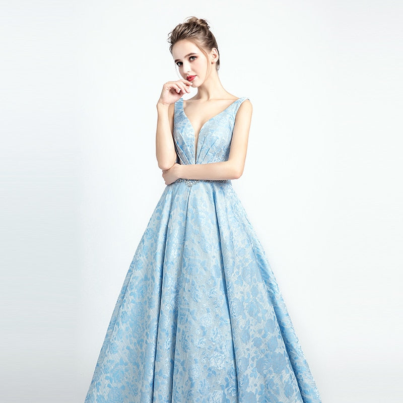 Floral Lace Embroidered Prom Dress