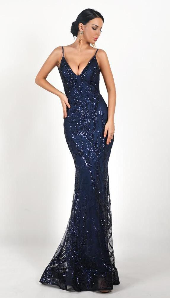 Spaghetti Strap Backless Sequined Maxi Dress