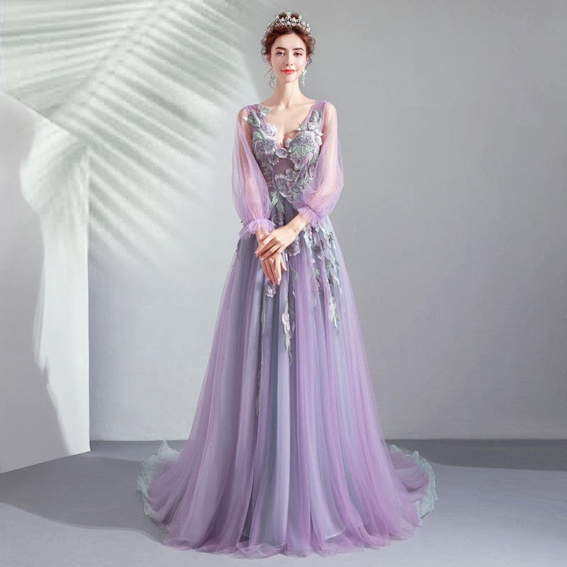 Floral Tulle Lace Sleeve Prom Dress