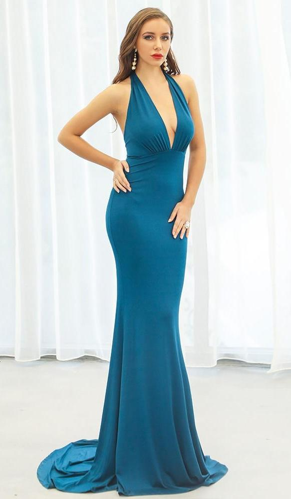 Blue Fitted Halter Neck Maxi Dress