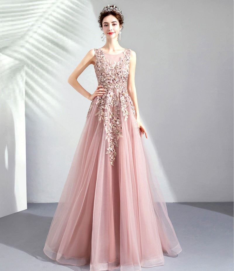 Dusty Pink Petal Embellished Tulle Prom Dress