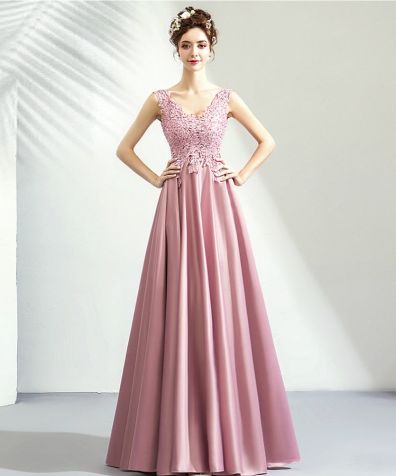 Satin Petal Embroidered Prom Dress