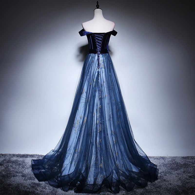 Off Shoulder Midnight Tulle Prom Dress