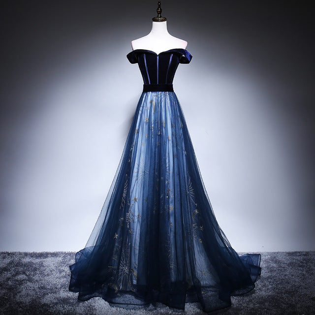 new photos distinctive style best site Off Shoulder Midnight Tulle Prom Dress