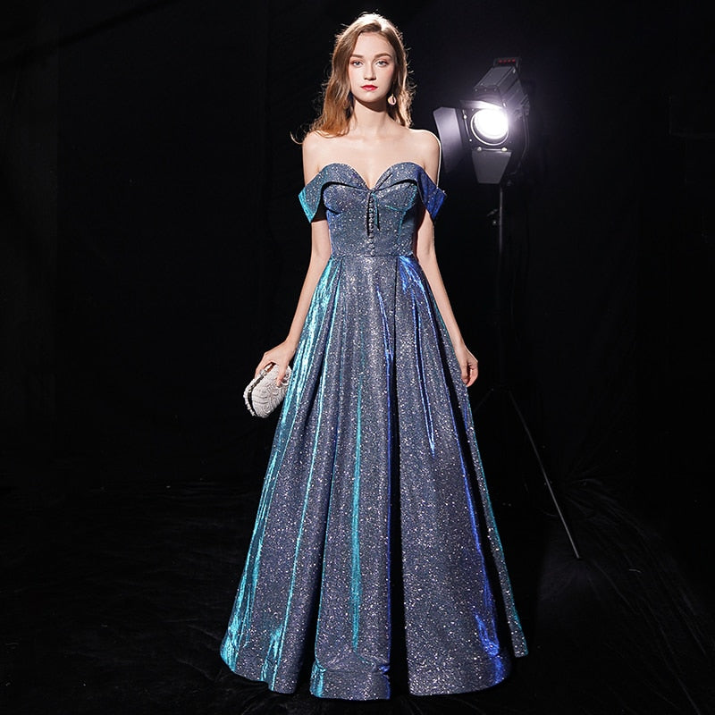 Off Shoulder Sweetheart Glitter Prom Dress