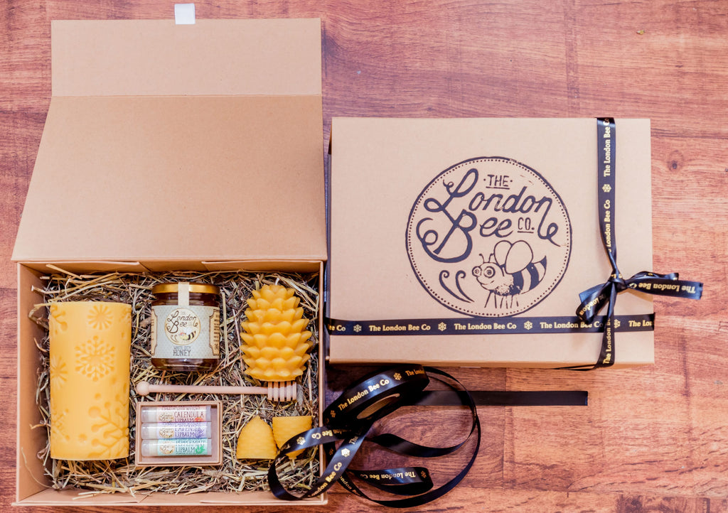Large Beeswax Candle, Lip Balm and Honey Gift Box