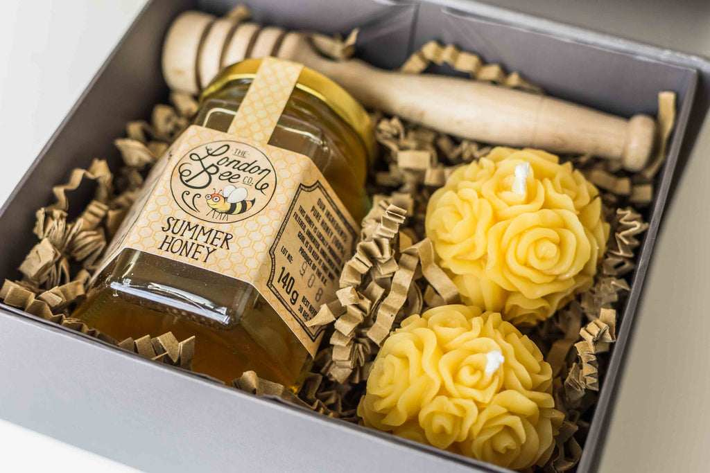 Copy of Small Beeswax Candle, and Honey Gift Box - Roses