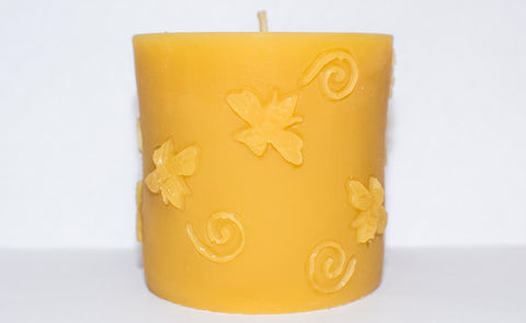"Solid Beeswax Bee Pillar Candle (3"" x 3"")"