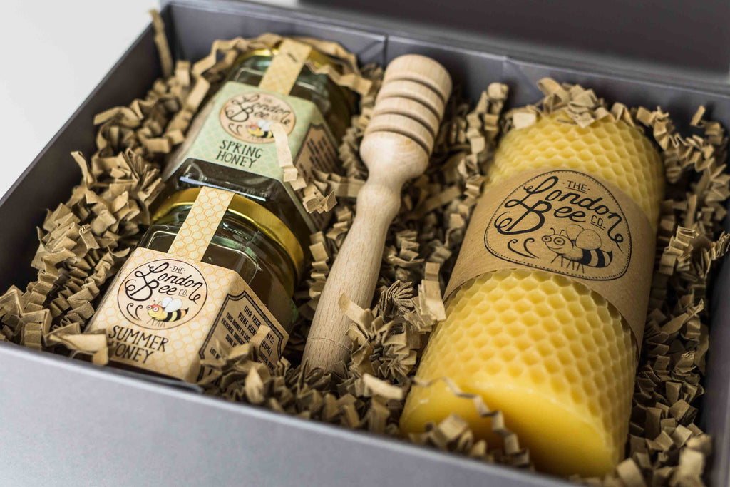 Medium Beeswax Candle and Honey Gift Box