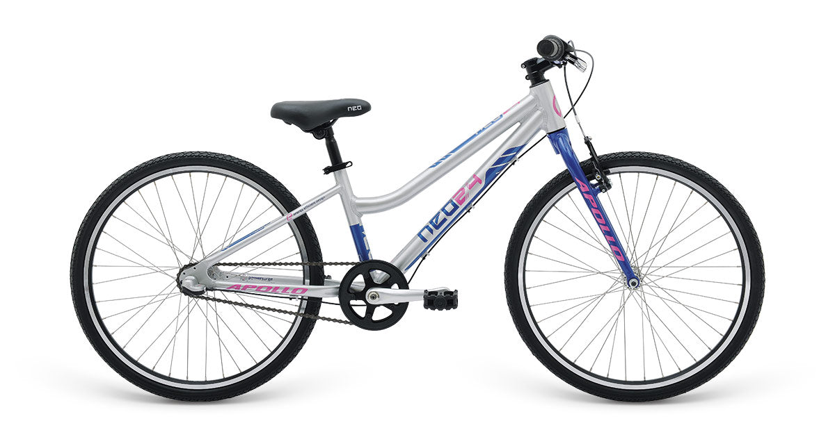 Neo 24 3I Girls Brushed Alloy / Navy Blue / Pink  - TUNE cycles