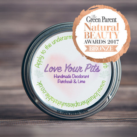 Love Your Pits Patchouli & Lime Natural Deodorant. This award winning natural deodorant starts with a maceration of Calendula in Coconut Oil, which soothes and nourishes the skin.