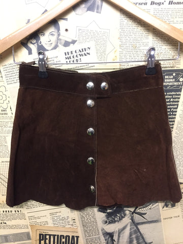 Original Vintage 1960's A Line Suede Skirt in Brown- Approx Size 6 - Product Vintage