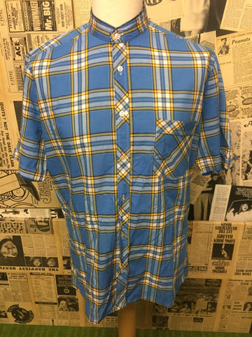 Vintage Men's Grandad Collar Checked Shirt in Blue - Size L - Product Vintage
