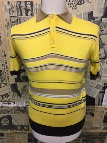 Original Vintage 1960's Polo Top in Yellow & Brown- Size M  - Product Vintage