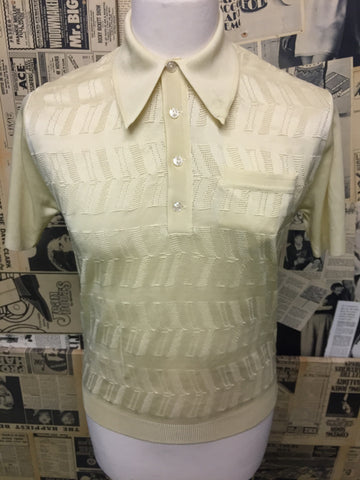 Original Vintage 1950's 1960s Polo Top in Light Yellow Gold- Size S - Product Vintage