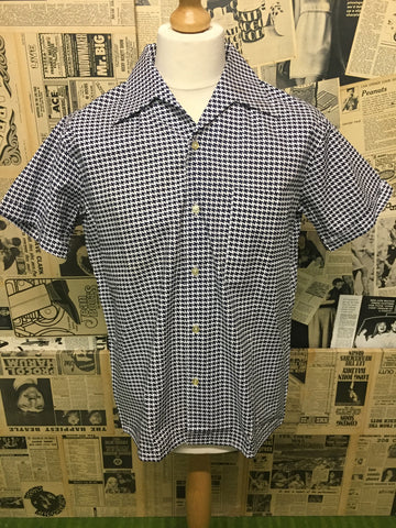 Original Vintage 1950's Shirt in White & Navy - Size L - Product Vintage
