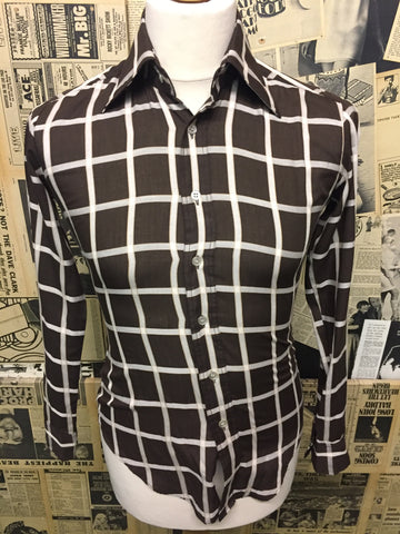 Men's Original Vintage Jaytex London Shirt in Brown Check - Size S - Product Vintage
