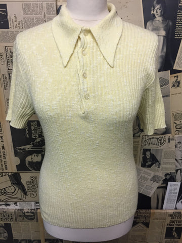 Original Vintage 1960s Ribbed Polo Top in Light Yellow - Approx Size 8 - Product Vintage