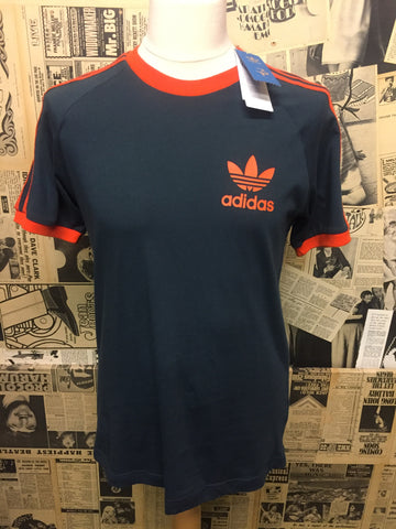 Men's Brand New Adidas Originals Trefoil T-Shirt in Dark Teal & Orange- Size M - Product New Stock