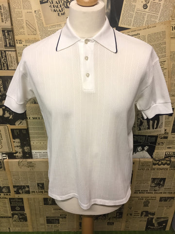 Original Vintage 1950's Netted Polo Top in White- Size L - Product Vintage