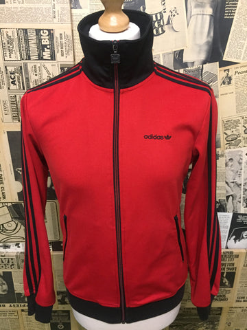 Adidas Originals 1980's Track Top Jacket in Red & Black - Size S - Product Vintage