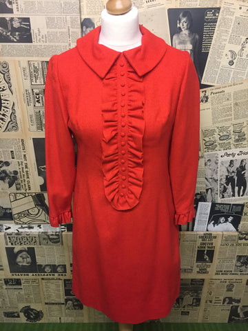 Original Vintage 1960's Ruffle Tux Dress in Orange- Approx Size 12 - Product Vintage