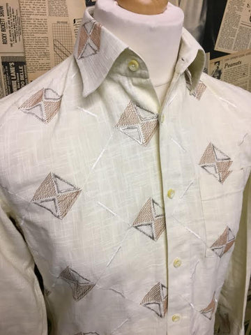 Men's Vintage 1960s 1970s Cheesecloth Shirt - Size Small - Product Vintage