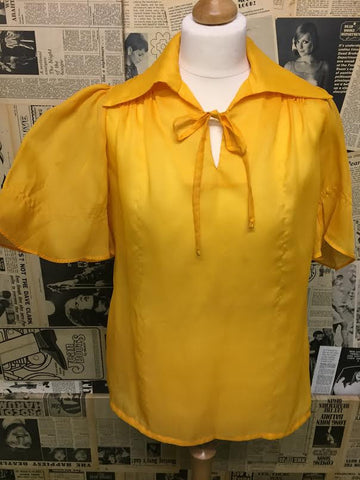 Original Vintage 1970's Floaty Blouse in Yellow/Gold - Approx Size 12 - Product Vintage