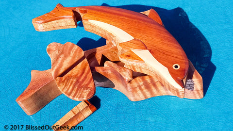 DOLPHIN WOODEN PUZZLE BOX - HANDCRAFTED 01