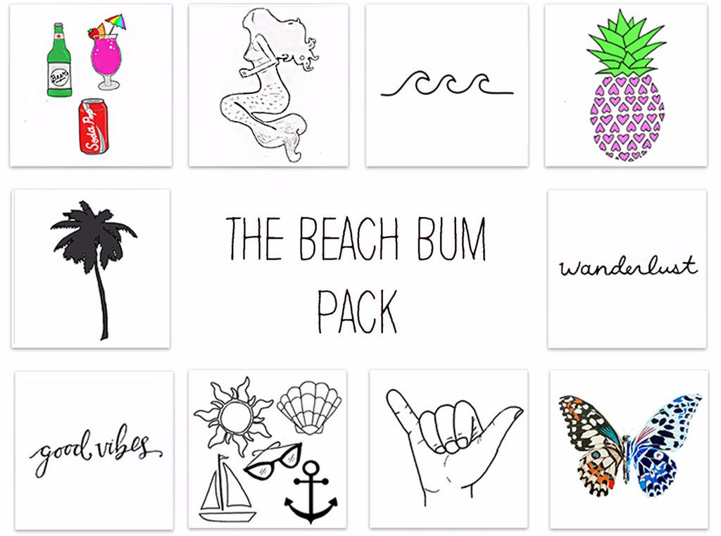 Beach Bum Temporary Tattoos