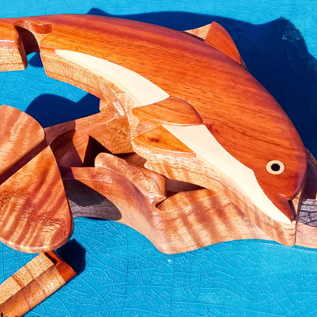 DOLPHIN WOODEN PUZZLE BOX - HANDCRAFTED