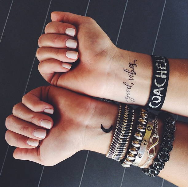 Good Vibes and Moon Temp Tattoos